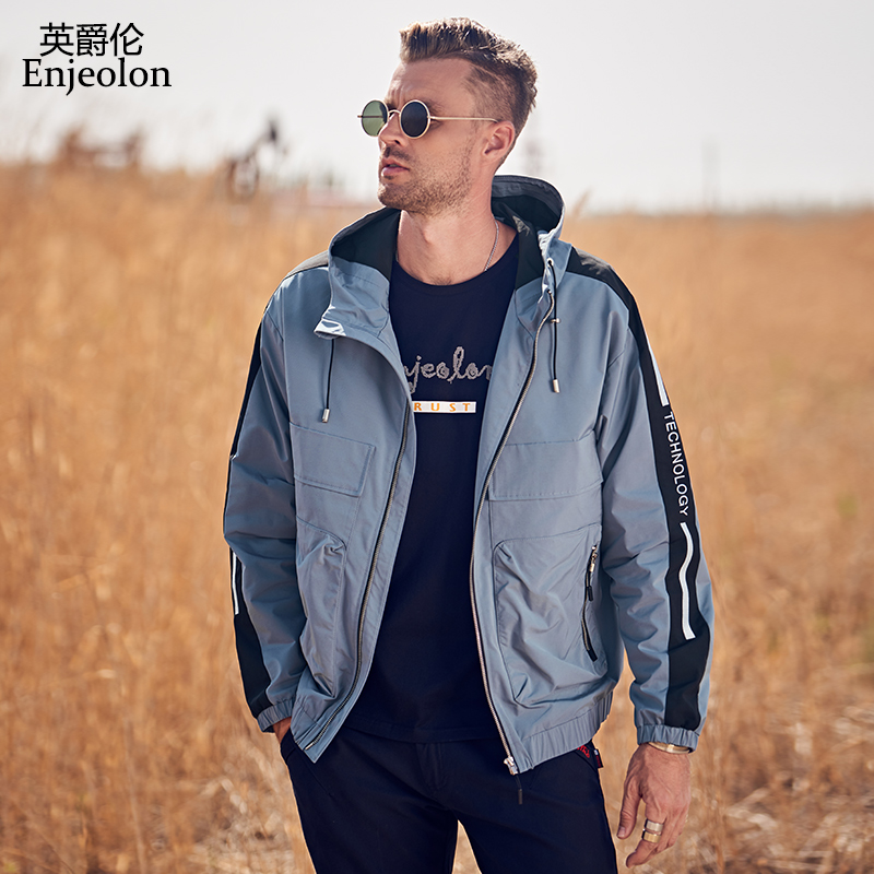 Enjeolon New Jacket Men Autumn Winter Casual Zipper Bomber Jackets Streetwear Overcoat Baseball Mens Thin Hooded Jacket JK635