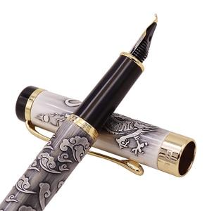 Image 3 - Jinhao 5000 Grau Vintage Luxus Metall Kalligraphie Brunnen Stift Gebogen Nib Schöne Drachen Textur Carving Büro Bussiness Stift
