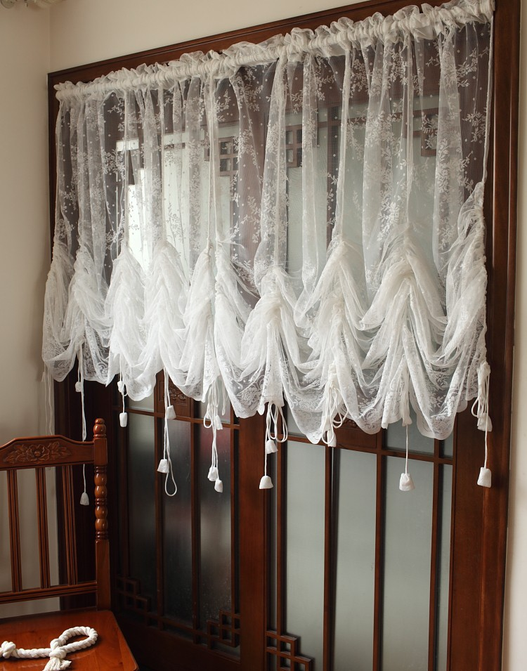 1 Panel White Lace Adjustable Height TranslucidusPocket-rod Curtain Elegant Home Decorative Balloon Curtain