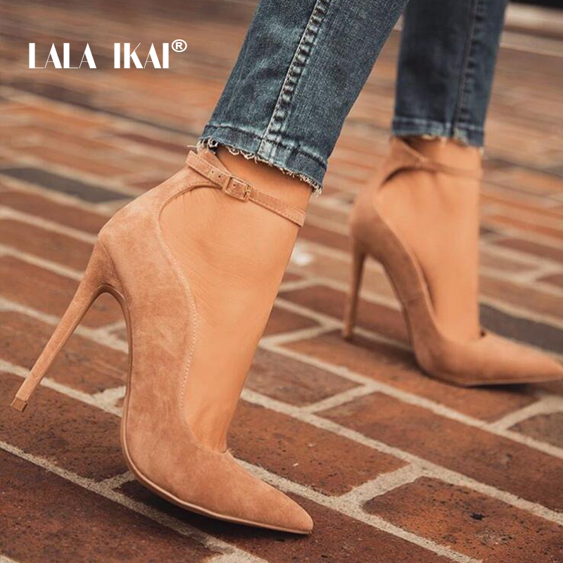 LALA IKAI Women Pointed Toe Flock Pumps Curve Super High 12 CM Party Fashion Buckle Strap Vintage Shoes Ladies Heels 900C1293 -4