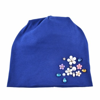 New Beanies Women Spring Autumn Solid Color Skullies Hat For Ladies Rhinestone Pearl Flower Cap Female Fashion Bonnet Gorra 2
