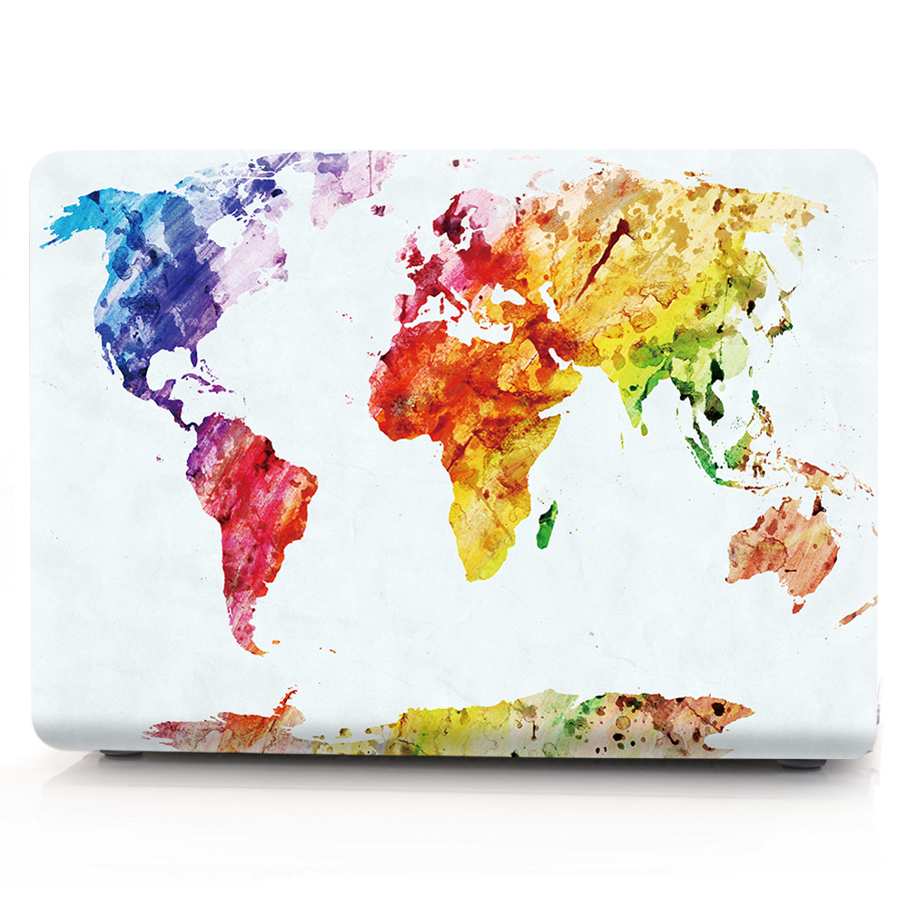 New For Macbook Air Pro Retina 11 12 13 15 Cover Hard PVC Color World Map A1466 Hard PC Coque for Macbook Pro 13 A1989 2018 Case (11)