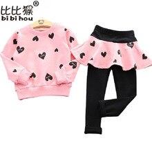 Children Clothing Skirt Tops T-Shirt Spring Heart-Printed Baby-Girls Autumn Lovely