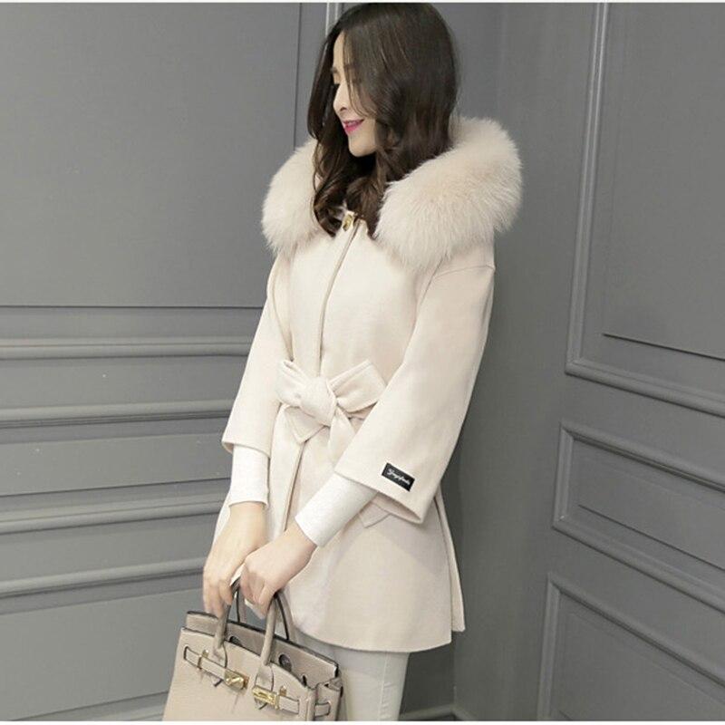 Unique Manteau Femelle À Boutique Costume De Capuchon Creamy Feminino Fourrure Laine Casaco Lady Poitrine 2019 Mince Col Femmes white Vestes Renard Faux qnwxXOUP