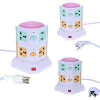2 Layer Universal Smart Electrical Plugs Vertical Power Socket Outlet AC Power With Independent Switch Suit +2 USB Ports