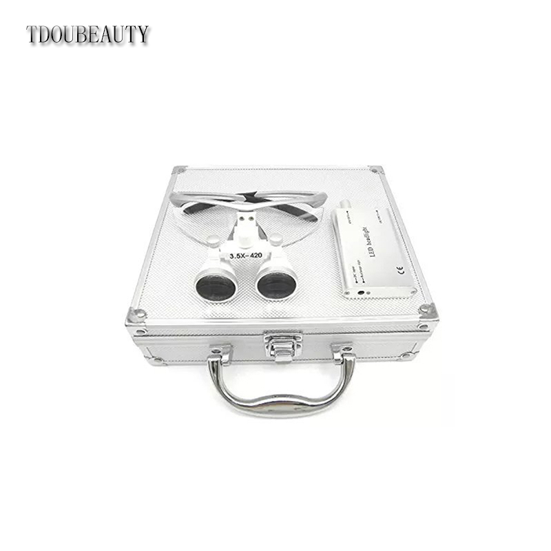 TDOUBEAUTY Portable Dental Binocular Loupes 2.5X 420mm + LED Head Light Lamp +Aluminum Box (Silver) Free Shipping tdoubeauty 3 5x 420mm dental surgical medical binocular loupes color random led head light lamp free shipping