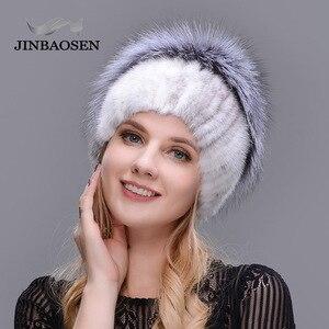 Image 4 - JINBAOSEN Nữ Mùa Đông Chồn Mũ Lông Thú Bạc Thật Cáo Lông Ấm Trượt Tuyết Nón Lông Tự Nhiên Đan Vải Lông Thương Hiệu thời Trang Kiểu Nga