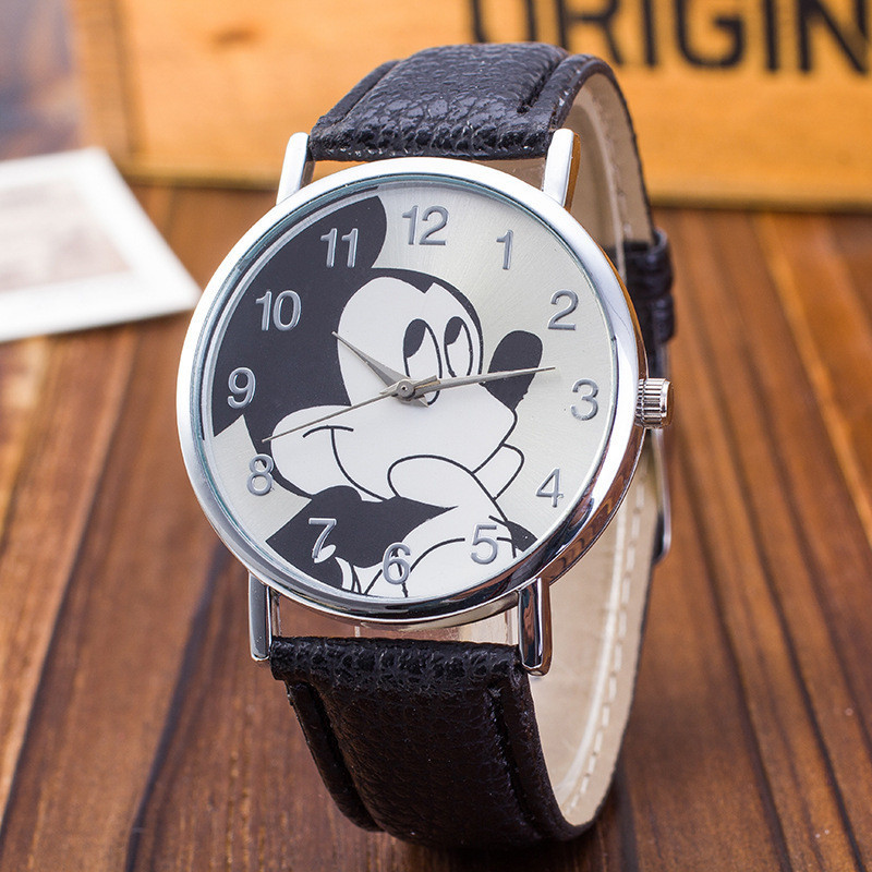 New Women Watch Mickey Mouse Pattern Fashion Quartz Watches Casual Cartoon Leather Clock Girls Kids Wristwatch Relogio Feminino(China)