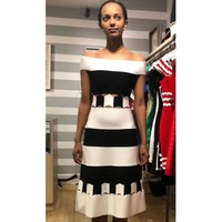 Summer Women Striped Off The Shoulder Sleeveless Rayon Strecth Bandage A Line Dress Club Party Dress