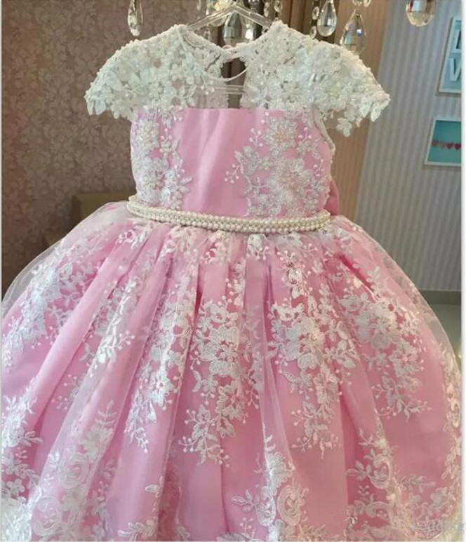 Fabulous Lovely   Flower     Girl     Dress   with Lace Beading Belt Big Bow Sweet Baby Birthday Party Gowns Custom Made Pageant Gowns Longo