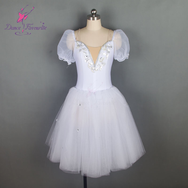 18584 Dance Favourite New mid-length white ballet tutu Puff sleeve Romantic ballet costume performance tutus Adult & Girl Tutu