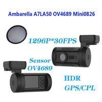 Free Shipping Mini 0826 Dash Car Camera DVR Full HD 1296P Ambarella A7LA50 GPS CPL Filter