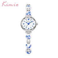 KIMIO Classic Vintage Women Watch Flower Imitation Ceramic Strap Bracelet Watch Quartz Movement Waterproof Watches Dress