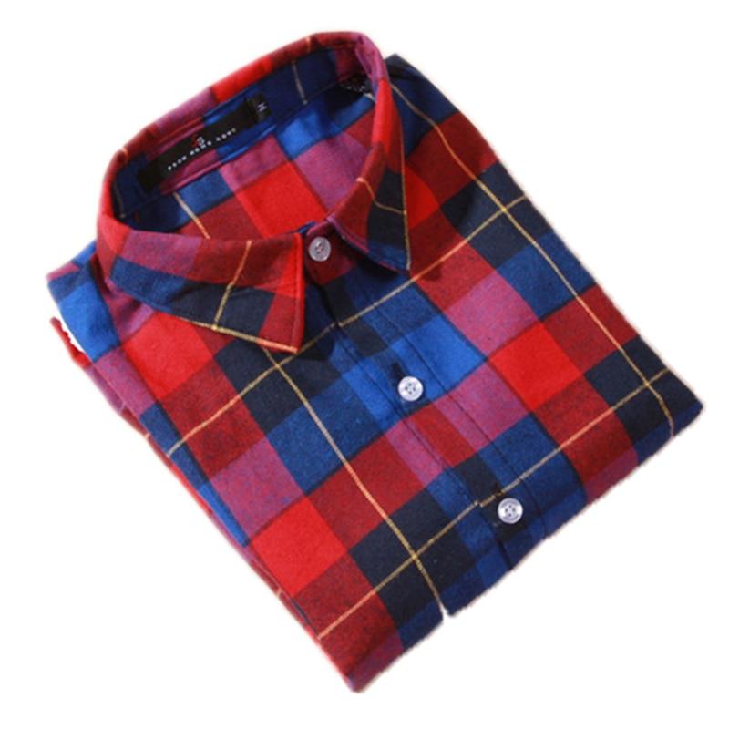 Bluzka koszula damska bluzka w kratę 100% bawełna Bluzka z długim - Ubrania Damskie - Zdjęcie 1