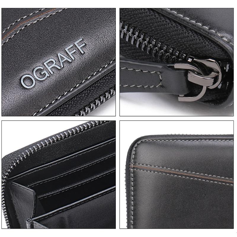 OGRAFF Long Mens Wallet Leather Äkta Myntväska Män Koppling - Plånböcker - Foto 5