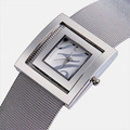 Square Silver Bangle Watches for Women Japan Quartz Full Steel Mesh Bracelet Wristwatch Analog Fashion Dress Clock Reloj NW1763