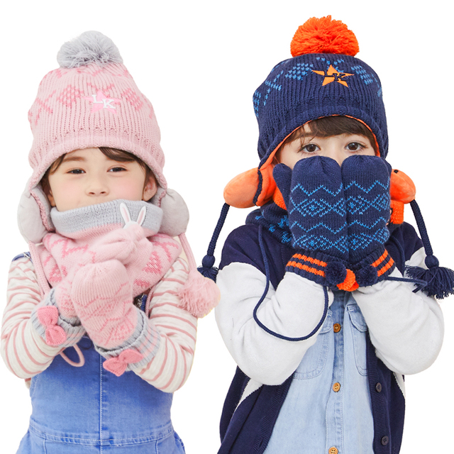 Winter Children Warm Thick Girls Hat Scarf Glove 3pcs Set Knitted Baby Kids Boy  Beanies Caps Neck Warmers Gloves For Boys Girls 4df839bb362c