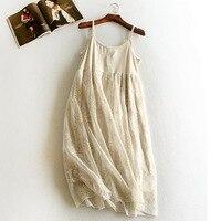 Autumn and winter emboridery lace inner underskirt spaghetti strap medium long gauze women dress