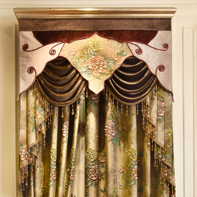 Brown top thick 4D jacquard villa blackout curtains for living room classic elegant embossed curtains for bedroom hotel in Curtains from Home Garden