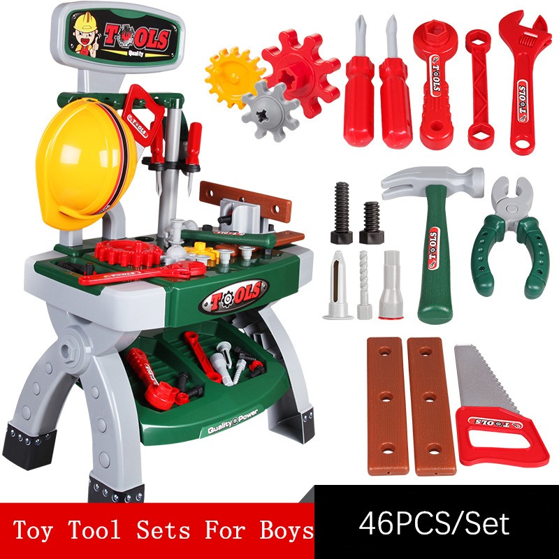 Boy Tool Set Child Tools Box Toys For Children Tool Set For Kids Play Pretend Toy Engineering Tool Set Workshop Toy For Children hot sale set plastic kitchen food fruit vegetable cutting toys kids baby early educational toy pretend play cook cosplay safety