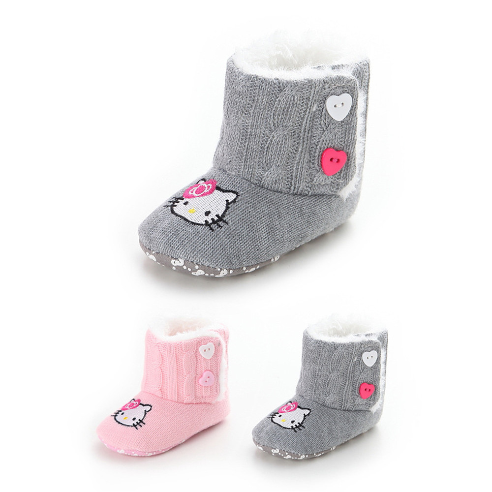 Hello kitty crib for sale - Winter Warming Baby Shoes Infants Crochet Knit Fleece Boots Toddler Girl Hello Kitty Wool Snow Boot Crib Shoes Winter Booties