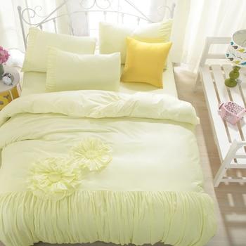 100% cotton fashion bedding sets double queen king size pink blue korean style bed set bedsheet set duvet cover pillowcases 38