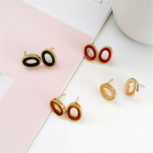 New stylish colorful acrylic geometric earrings square round long for women Refined girl jewelry wholesale