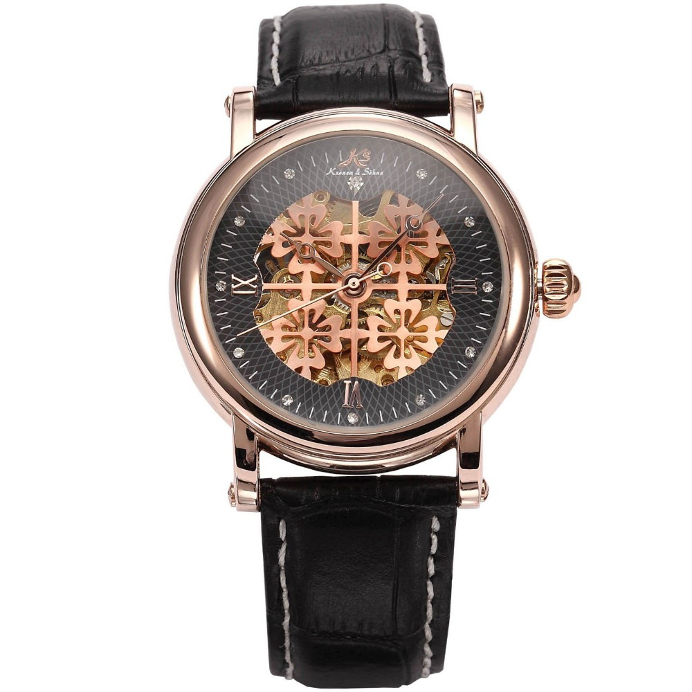 KS Royal Carving Rose Gold Bezel Dress Skeleton Relogio Mechanical Leather Mens Automatic Self Wind Luxury Casual Watch / KS122 kings and queens mens mechanical skeleton watch gold bezel black leather strap kq bkgd