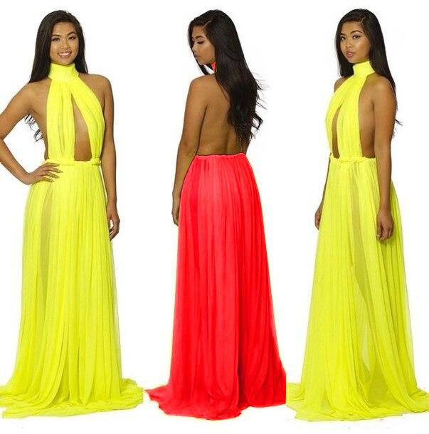 f6888f6f35e10 summer dress 2014 nude illusion halter backless Gown dress sexy long  desigual Chiffon dresses crochet party Maxi vestidos dress