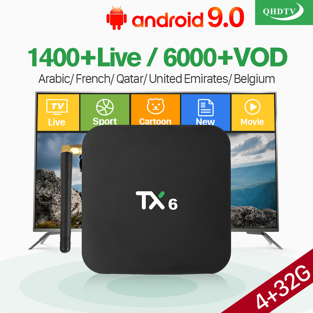 QHDTV 1 Year Android 9.0 TX6 4+32G BT5.0 USB3.0 Dual-Band WIFI 4K IPTV France Arabic Belgium Netherlands IPTV Android 9.0 Box   QHDTV 1 Year Android 9.0 TX6 4+32G BT5.0 USB3.0 Dual-Band WIFI 4K IPTV France Arabic Belgium Netherlands IPTV Android 9.0 Box