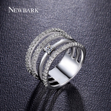 NEWBARK 4 Eternity Ring Set For Women Rose / White Gold Plated Vintage Wedding Rings CZ Stones Jewelry Bijoux As Christmas Gifts