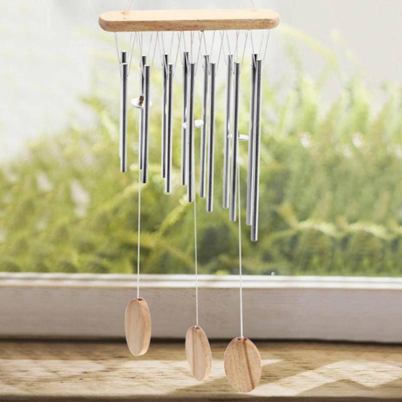 2017 New Relaxing Wood Copper Tubes Wind Chimes Bells Bring Silvery Sound To The Garden Home Decor Gift carillon de jardin