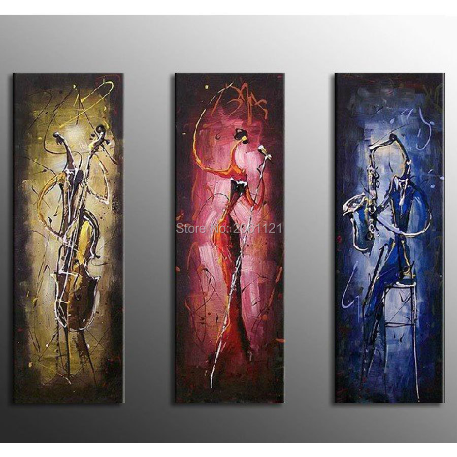 3 panels abstract mural paint modern canvans oil painting wall art living room decorations musician dancer figure