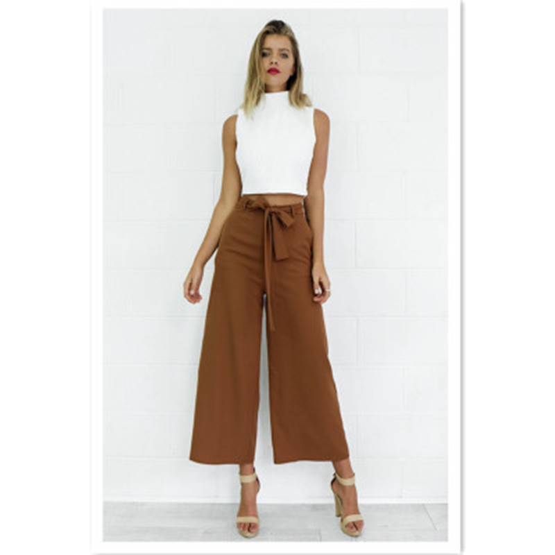 2018 Women Flare Pants Office Lady Workwear Long Trousers Loose Solid Black Pants