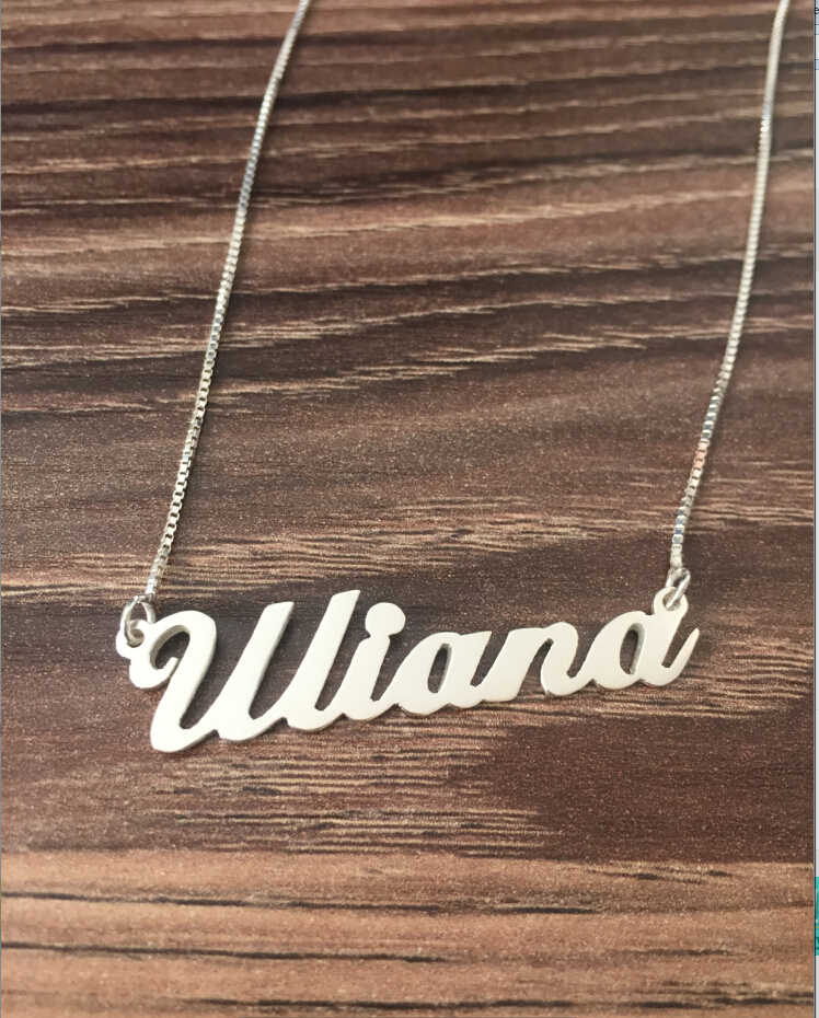 Custom Name necklace personalized necklace 925 Sterling silver jewelry necklace with box chain