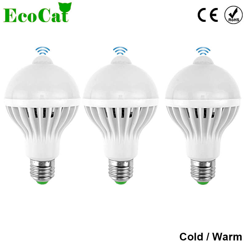 ECO Cat LED PIR Motion Sensor lights 9W Led Bulb E27 5W 7W Auto Smart Led PIR Infrared Body Lamp With The Motion Sensor Lights