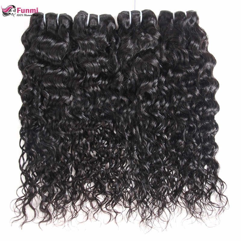 Необработанные малазийские воды пучки волнистых волос Funmi малазийские парики из натуральных волос пучки волос 1/3/4 шт. волнистые Пряди человеческих волос для наращивания
