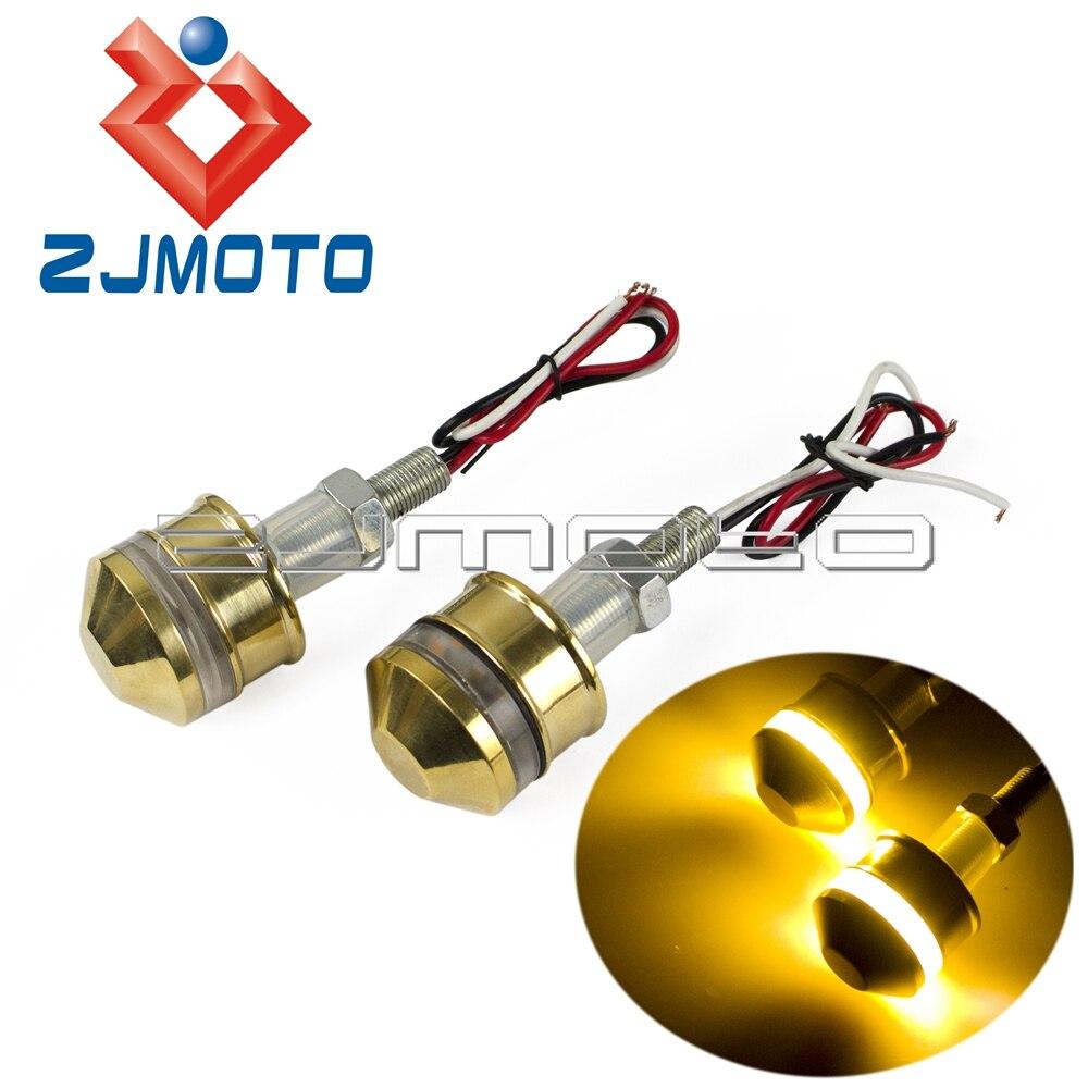 Motorcycle 8mm Brass 25mm Handlebar End LED Turn Signals 1 Bar End Indicator Lights Amber Light