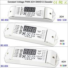 832/833/834 DC12V-24V 1990 decoder Controller  2CH 3CH 4CH led CV PWM DMX512/ for SMD 5050 WW CW / RGB /RGBW strip tape lamp
