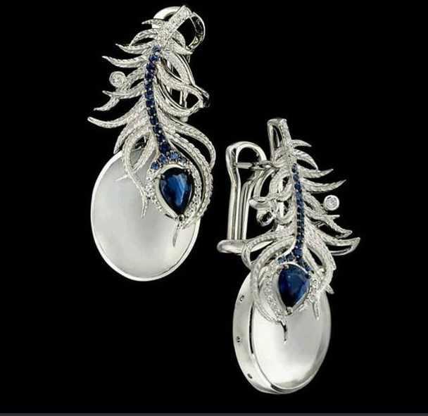 ต่างหูเลดี้รูปหัวใจ star earing เงินต่างหู 925 พู่ต่างหู Vintage phoenix moonstone วันวาเลนไทน์ Stone E066
