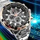 Alexis Men Analog Quartz Round Wrist Watch Miyota 0S10 Chronograph Matt Silver Stainless Steel Band White Dial Water Resistant