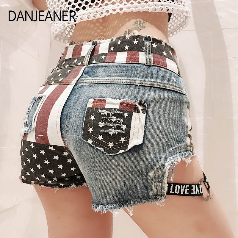 Danjeaner Euro Style Women Denim Shorts Vintage Low Waist Hollow Out Jean Shorts Streetwear Sexy Shorts For Summer Spring Autumn