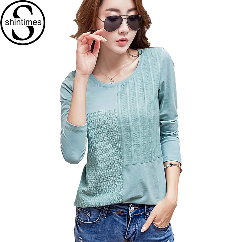 Shintimes Chemise Femme Borduren Blouse Koreaanse Kleding Vrouwen Tops 2018 Wit Shirt Katoen Lange Mouw Plus Size Camisas Mujer