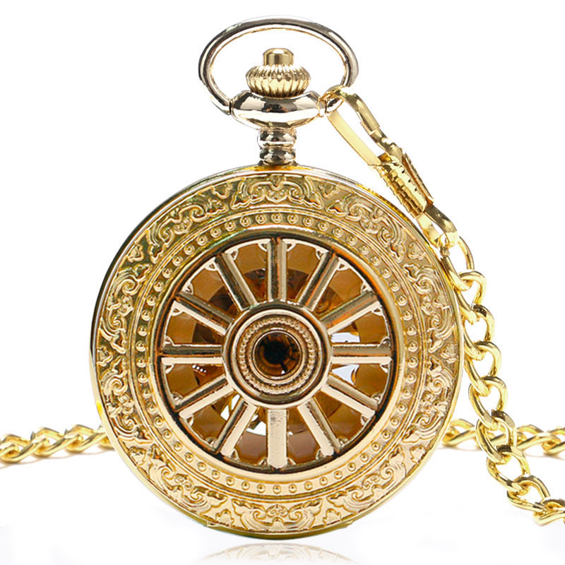 Antique Vintage Gold Pocket Mechanical Watch Hand Winding Fashion Women Men Skeleton Watch Pendant With Fob Chain Nurse Gifts