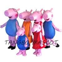 Wysokiej jakości Dorosłych Różowy Świnia Postać Z Kreskówki Maskotka Kostium Dorosłych kid rozmiar 4 Kolor Halloween Cosply Kostium dla Kobiet