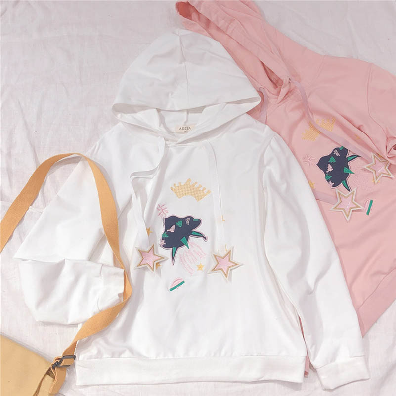 NiceMix Women Pentagram Embroidery Hoodies 2019 New Spring Fashion Long Sleeve Basic Cotton Casual Female Sweatershirts new in Hoodies amp Sweatshirts from Women 39 s Clothing