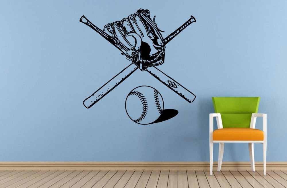 Yoyoyu Wall Sticker Vinyl Art Decor Bat Glove Two Bats Sports Gear Tools Baseball Poster