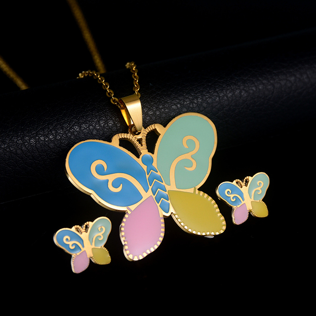 Fashion Kids Jewelry Set Gold Color Chain 5