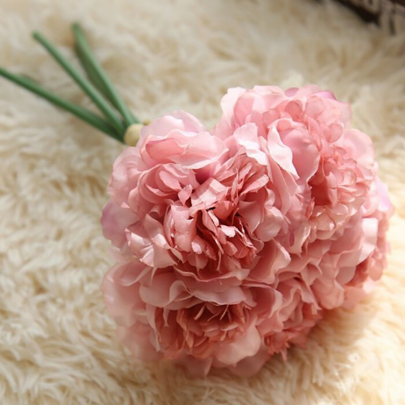 Hand holding Peony flower Artificial flowers Wedding Church Office Furniture Home Decoration Accessories Flores 1 Pcs