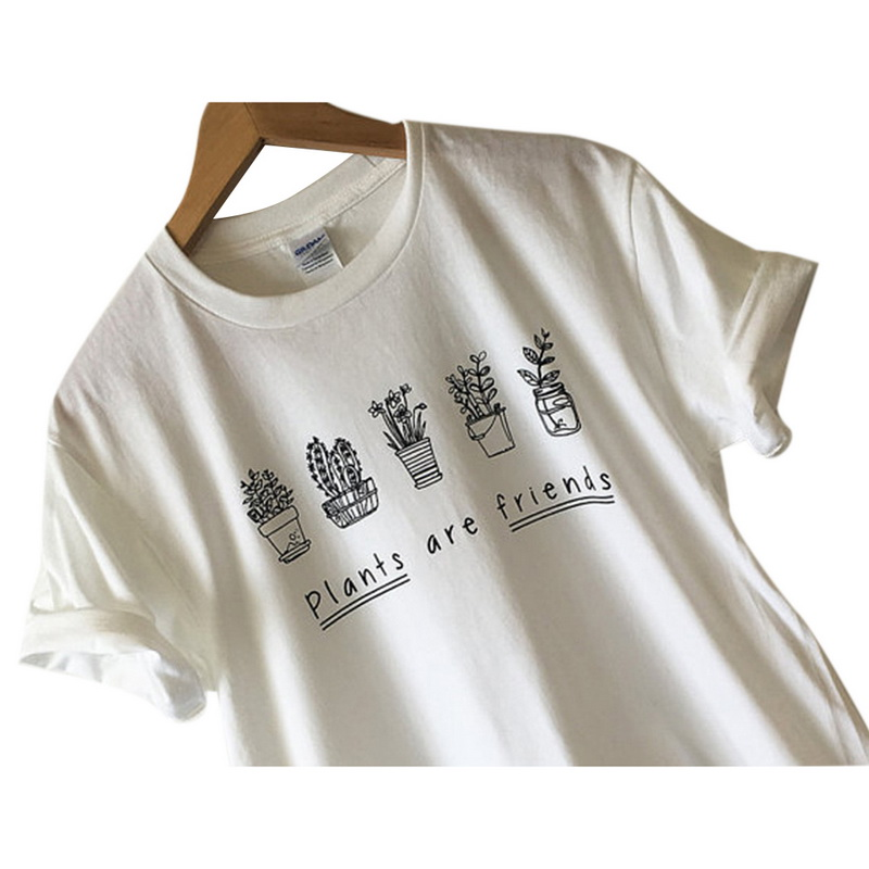 c19ecf43f LASPERAL Super Soft Unisex Summer Top Blusa Plants Are Friends Shirt Tee T  shirt Screen Print Loose Women Shirt Trees T shirt-in T-Shirts from Women's  ...